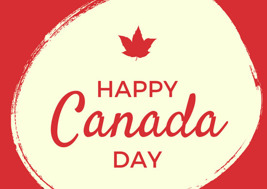Red Cream Canada Day Greeting Card