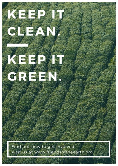 White and Green Photo Environmental Campaign Poster