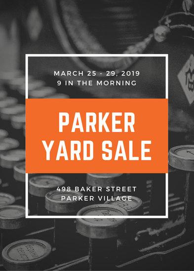 Orange White Border Vintage Sale Yard/Garage Flyer