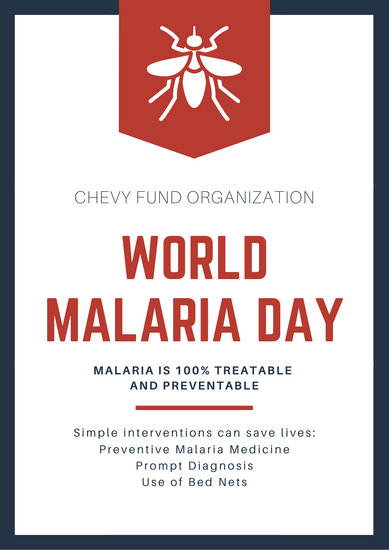 Red & Navy Mosquito Icon World Malaria Day Poster