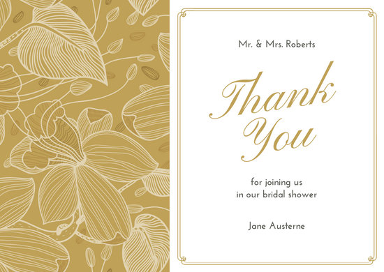 Brown Illustrated Bridal shower Thank You Card