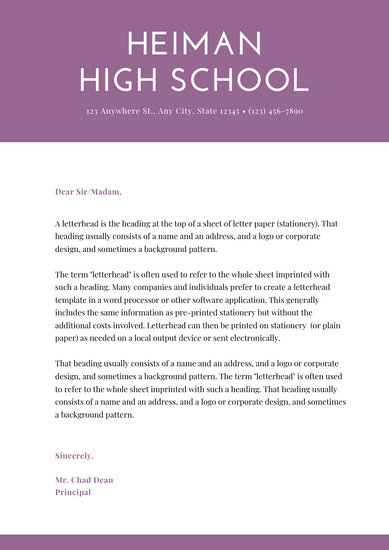 Purple Simple Welcome letter to parents School Letters