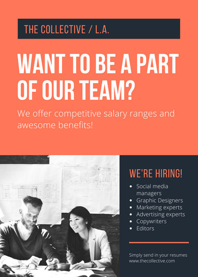 Orange & Blue Modern Job Vacancy Announcement