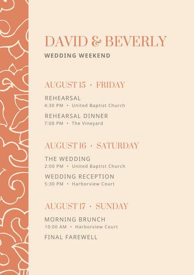 Orange Floral Pattern Wedding Itinerary Planner