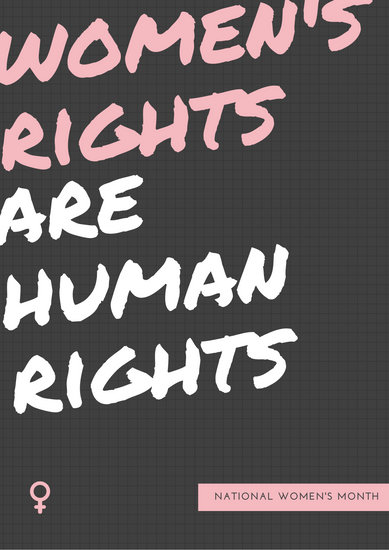 Grey Pink Bold Women's Rights Poster