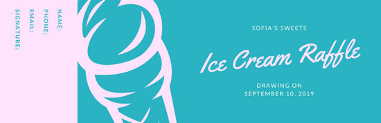 Teal and Pink Ice Cream Raffle Ticket