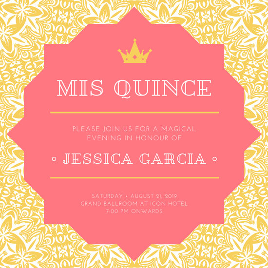 Gold & Coral Lace Floral Quinceanera Invitation
