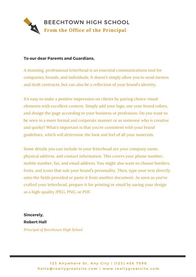 Black and Gold Minimalist Welcome Letter to Parents School Letter