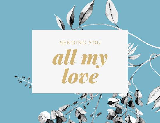 Blue White Floral Illustration Love Postcard