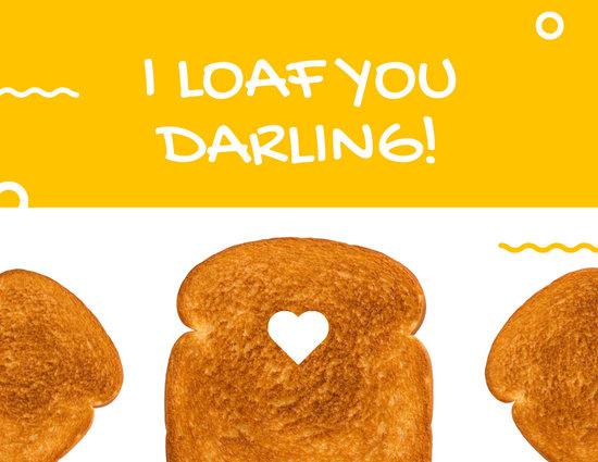 Yellow Circle Squiggles Toast Love Postcard