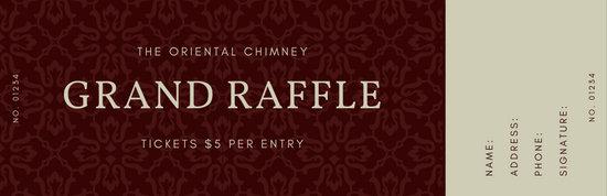 Maroon Oriental Pattern Raffle Ticket