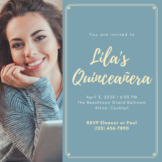 Light Blue and Yellow Woman Bordered Quinceañera Invitation