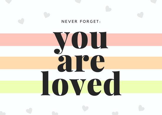 Pastels Heart Serif Boxes Love Postcard