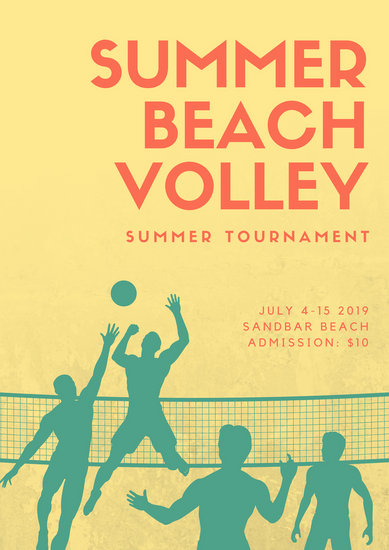 Yellow Volleyball Illustration Beach Volleyball Poster