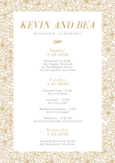 White Gold Leaves Wedding Itinerary Planner