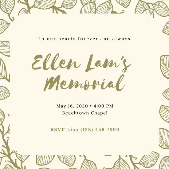 Olive Green Leaves Memorial Invitation