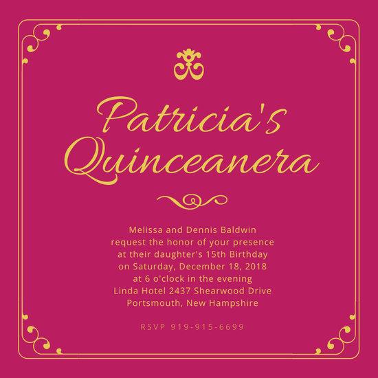 Pink Quinceanera Invitation