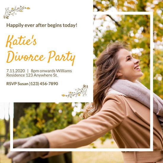 Brown Autumn Woman Divorce Party Invitation