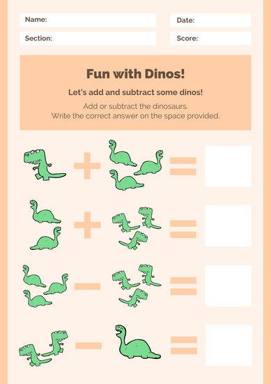 Orange Green Dinosaur Math Games Worksheet