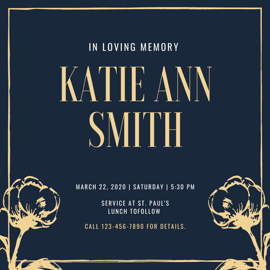 Blue and Brown Flower Memorial Invitation