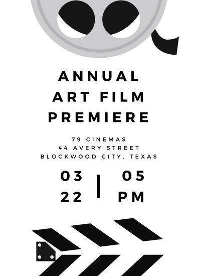 Black and White Modern Movie Night Invitation