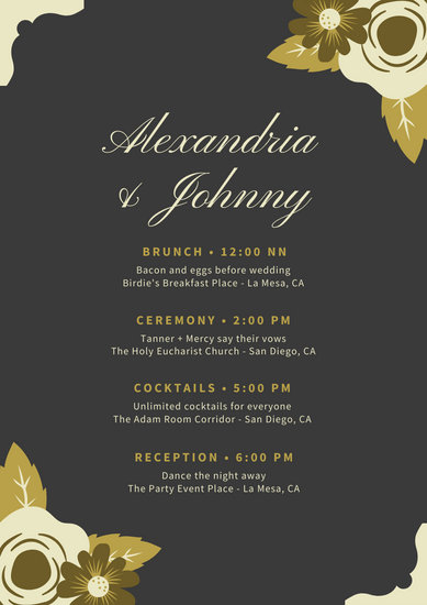 Black with Golden Flowers and Borders Wedding Itinerary Planner