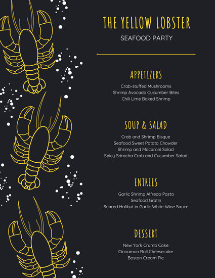 Black and Yellow Lobster Seafood Food and Drink Menu
