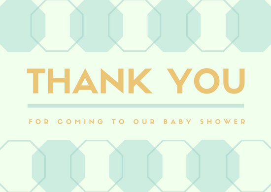 Octagon Pattern Baby Shower Thank You Card