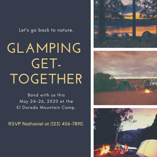 Gray and Yellow Picnic Adventure Collage Travel Invitation