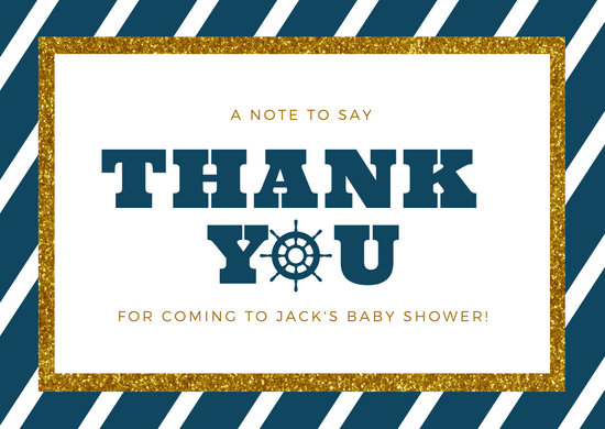 Nautical Baby Shower Thank You Card