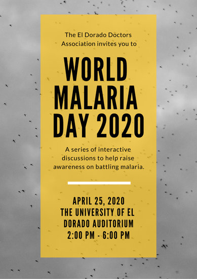 Grey and Yellow Mosquitos World Malaria Day Poster
