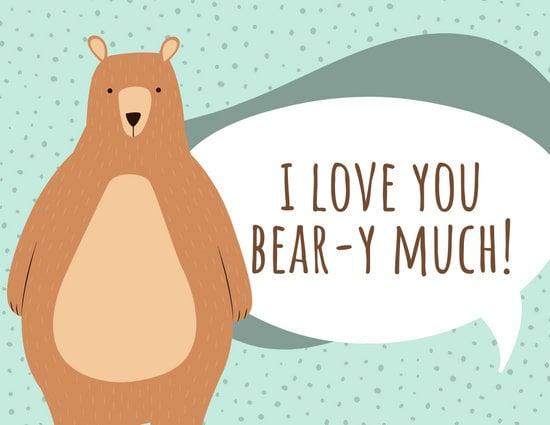 Green Bear Love You Postcard