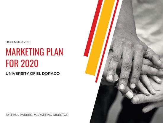 Yellow White Red Marketing Plan Presentation