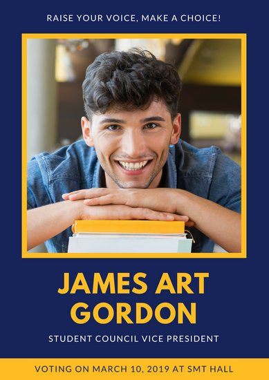 Blue and Yellow Student Campaign Poster
