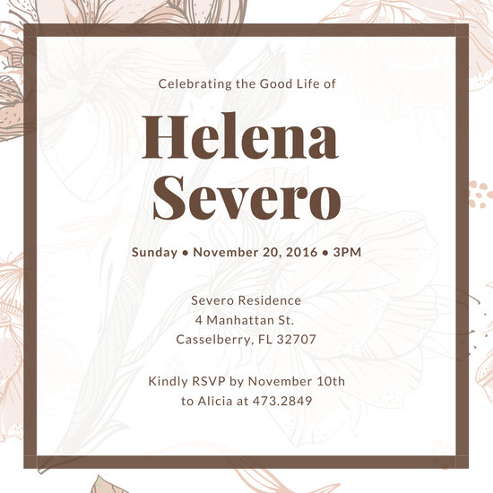 Brown Floral Funeral Invitation
