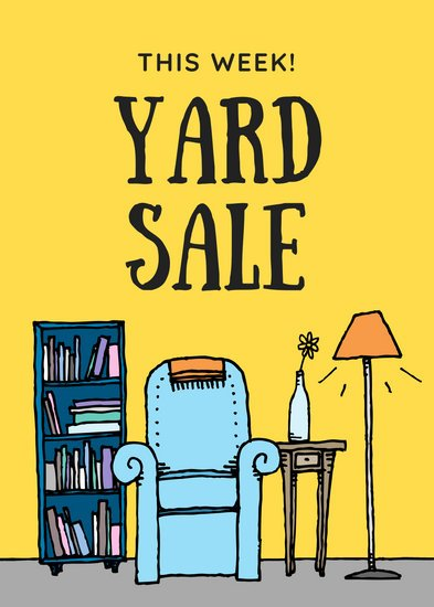 Yellow Cartoon Yard Sale Flyer