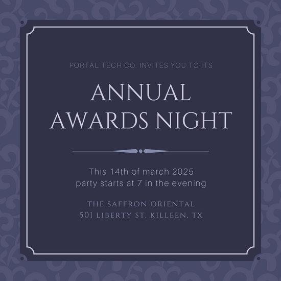 Violet Elegant Ornate Pattern Awards Night Invitation