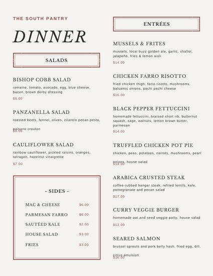 Brown Borders Dinner Menu
