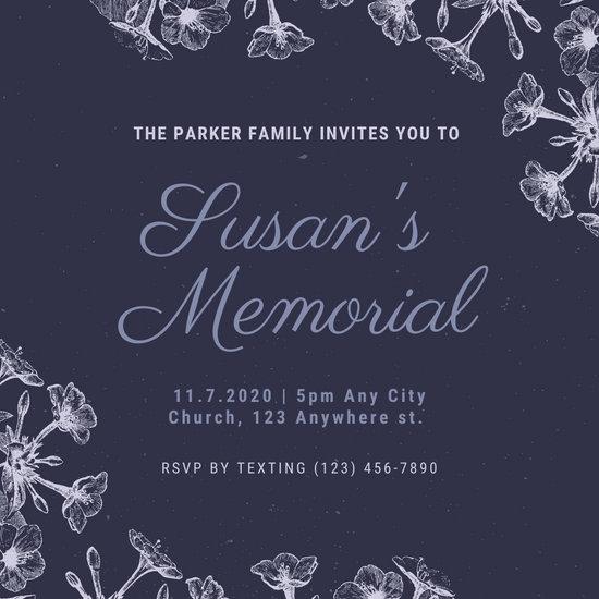 Dark Violet and White Vintage Floral Memorial Invitation