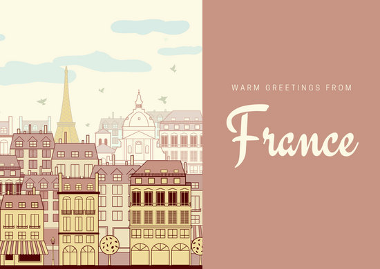 Beige and Maroon City French Postcard