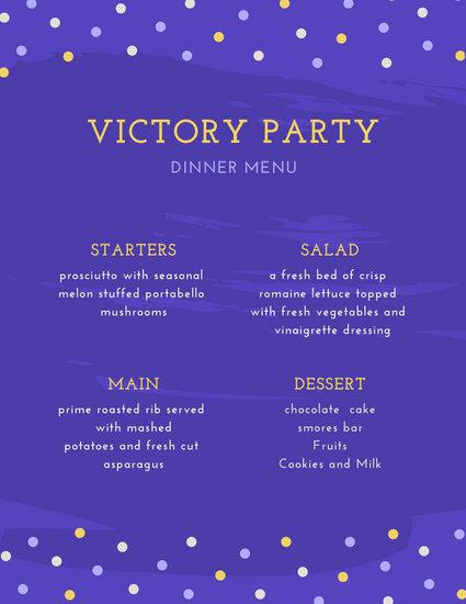 Polka Dot Borders Purple Dinner Party Menu
