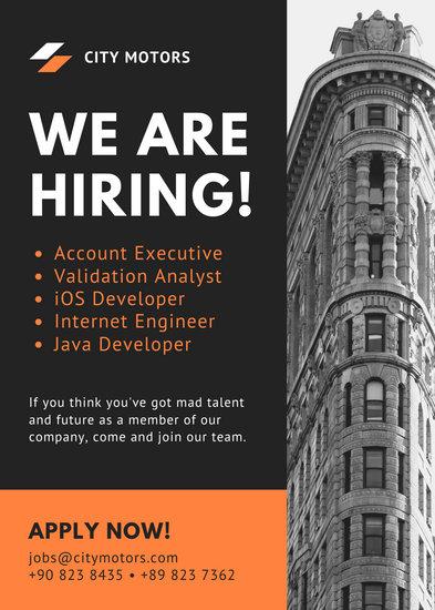 Orange Grayscale Photo Job Vacancy Announcement