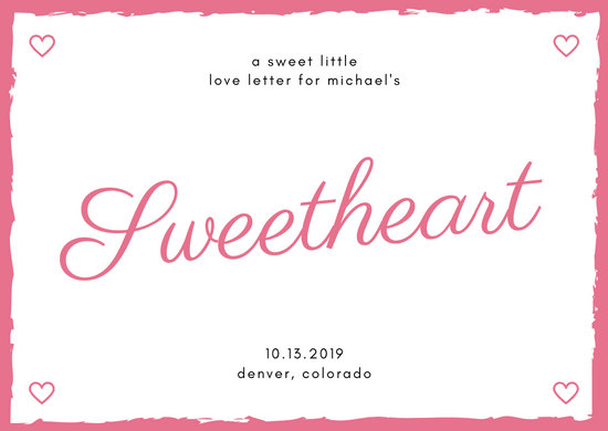 Pink with Lined Heart Icons Sweetheart Love Postcard