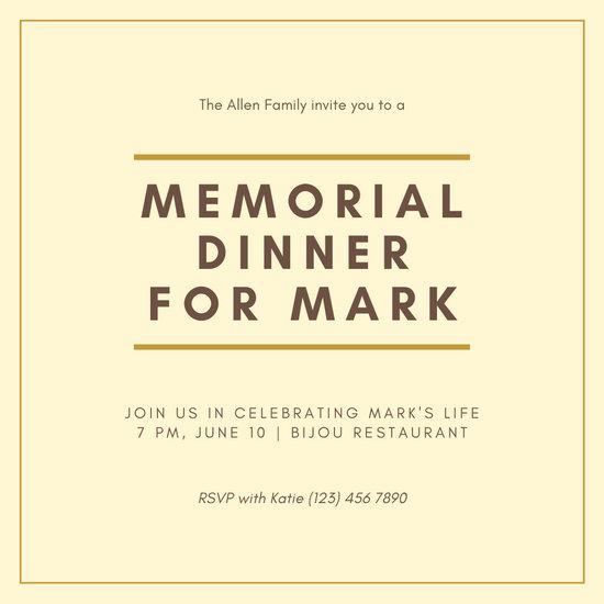 Pale Yellow Minimalist Bordered Memorial Invitation