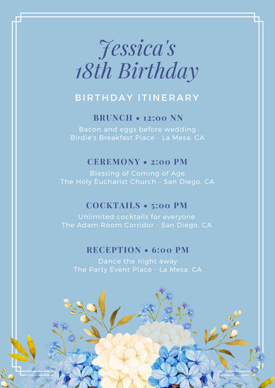 Light Blue Floral Watercolor Illustration Itinerary Planner