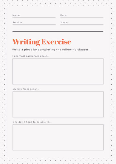 Orange Polka Dots Sentence Starters Writing Prompt Worksheet