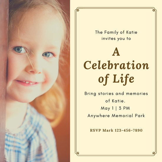 Cream and Brown Bordered Memorial Invitation