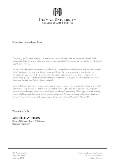Black Grey Welcome Letter to Parents School Letters