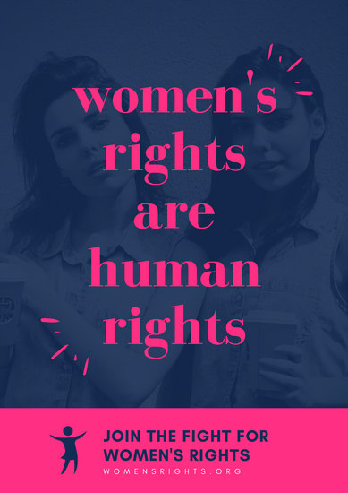 Pink & Blue Photo Women's Rights Poster