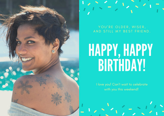 Bright Turquoise Greeting Birthday Card